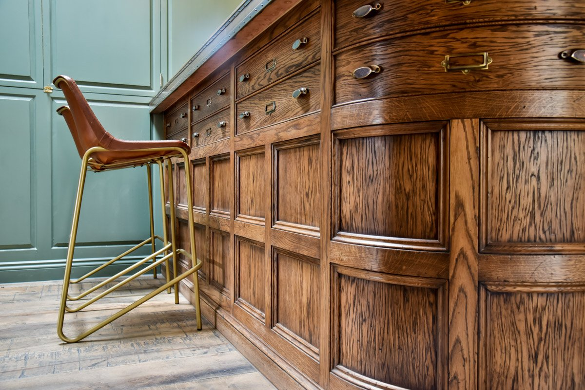 Curved wooden panelled bar