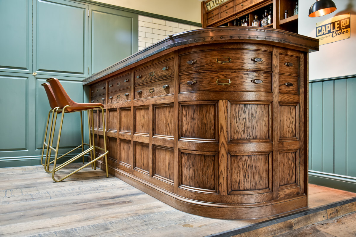 A Oak curved bar made for a bespoke commercial joinery contract in somerset